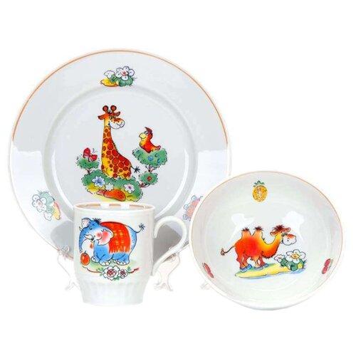 Набор для завтрака Дулёвский фарфор Зоопарк 3 предмета 047042 набор для завтрака osz disney cars принцессы 3 предмета