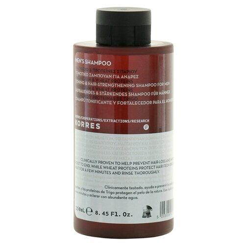 Фото - KORRES шампунь Men's Magnesium & Wheat Proteins Тонизирующий и укрепляющий для волос, 250 мл шампунь korres алоэ и дикий бадьян 250 мл для нормальных волос