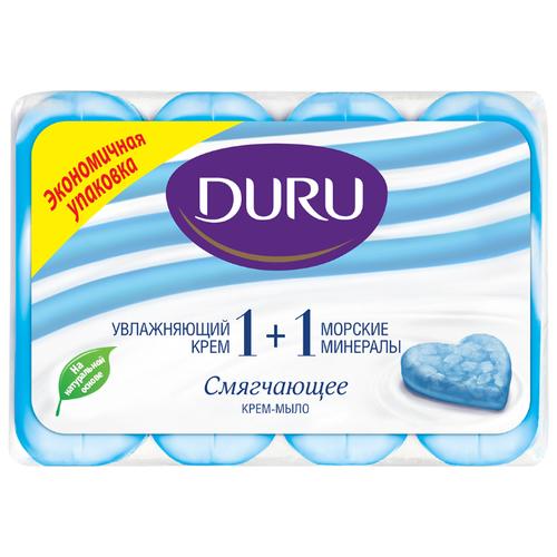 Крем-мыло кусковое DURU Soft sensations 1+1 Морские минералы, 4 шт., 90 г мыло кусковое duru fresh sensations цветочное облако 150 г