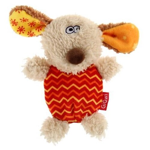 Фото - Игрушка для собак GiGwi Plush Friendz Собачка (75304) бежевый/оранжевый/желтый лежак для собак и кошек gigwi snoozy friendz кот 57х57х4 см серый