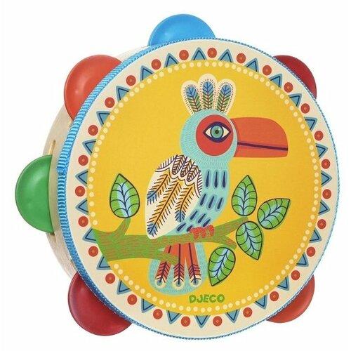 Купить DJECO бубен Animambo 06005 желтый/синий/красный/зеленый, Детские музыкальные инструменты