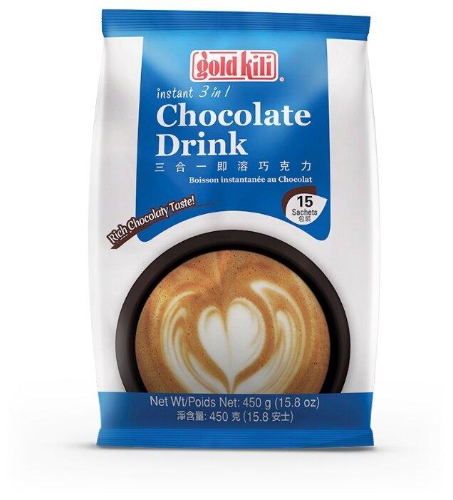Gold Kili Горячий шоколад растворимый с солодом 3 в 1 в пакетиках, 15 шт.