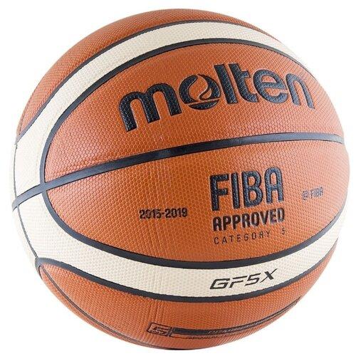 Баскетбольный мяч Molten BGF5X, р. 5 коричневый/бежевый/черныйМячи<br>