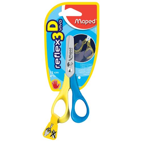 Купить Maped ножницы детские Reflex 3D Vivo для левшей 12см желтый/голубой, Ножницы