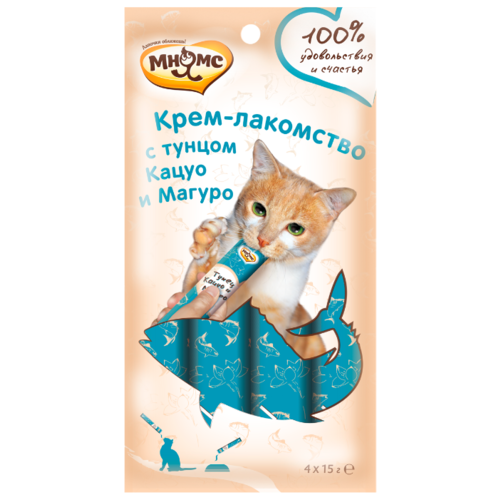 Лакомство для кошек Мнямс Крем-лакомство с тунцом Кацуо и Магуро, 60 г