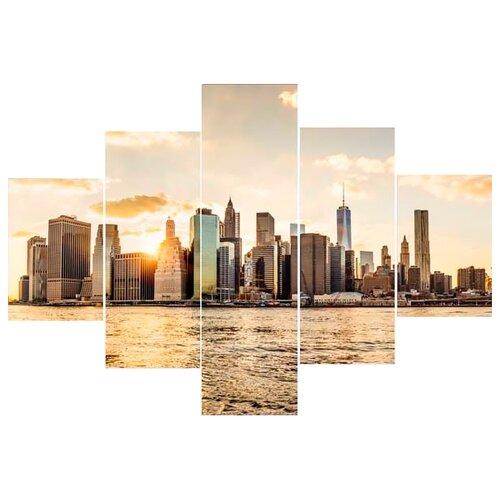 Модульная картина Ekoramka Манхеттен, закат 100х70 смКартины, постеры, гобелены, панно<br>
