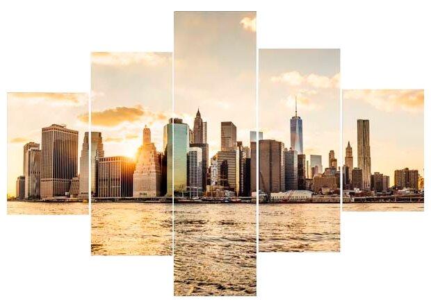 Модульная картина на холсте 100x70 Манхеттен закат Экорамка HE-107-214