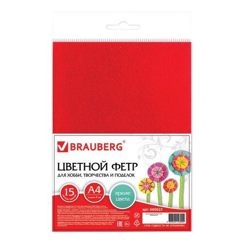 BRAUBERG Набор цветного фетра А4, 15 цветов (660623) мультиколор