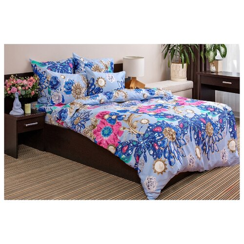 Постельное белье 2-спальное Ночь Нежна Сапфир 50 х 70 сатин голубой/синий/розовыйКомплекты<br>