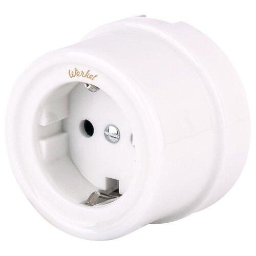 Розетка Werkel WL18-03-02 (a036796),16А, с защитной шторкой, с заземлением, белый розетка xiaomi mi smart plug wifi 16а с защитной шторкой с заземлением белый