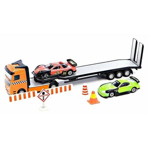 Фото - Набор машин ТЕХНОПАРК из трех моделей с дорожными знаками (CT-1261) 29 см зеленый/оранжевый бульдозер технопарк с дорожными знаками u1408a 4 12 5 см оранжевый