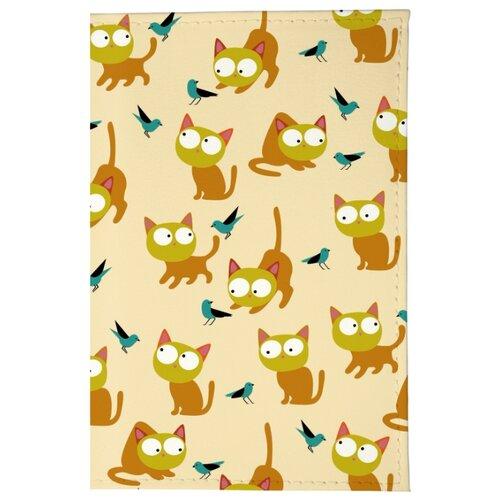 Обложка для паспорта Mitya Veselkov Рыжие кошки OK203, Принт обложка для паспорта кожаная mitya veselkov мишки на велике с шариками