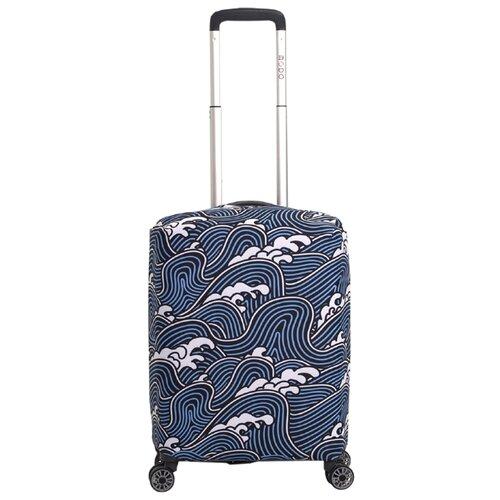 Чехол для чемодана METTLE Волна S, голубой/белыйЧемоданы<br>