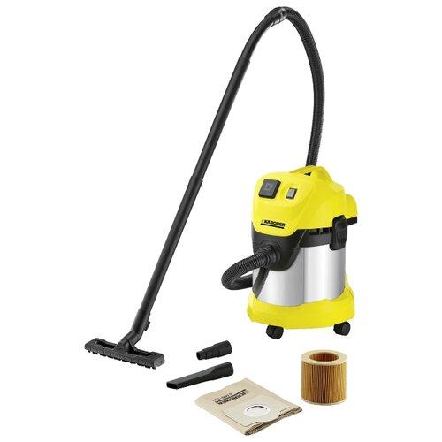 Профессиональный пылесос KARCHER WD 3 P Premium 1000 Вт серебристый/желтый пылесос karcher wd 6 p premium