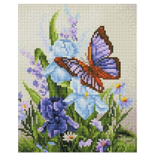 Белоснежка Набор алмазной вышивки Бабочка на ирисах (408-ST-PS) 20x25 см