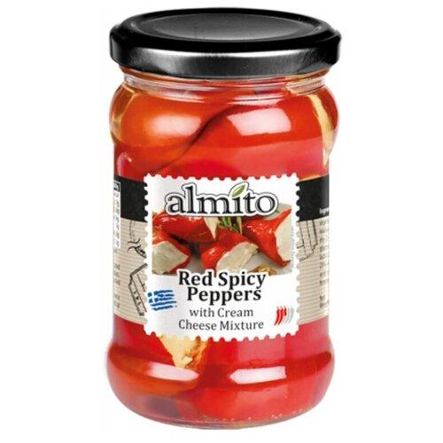 Красные острые перчики с сыром Almito стеклянная банка 270 г перчики фаршированные тунцом de luxe gartenz стеклянная банка 280 г