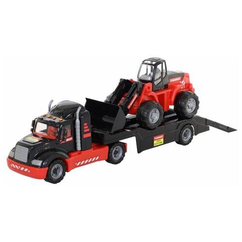 Набор техники Полесье 206-02 Mammoet в коробке (57006) черный/красный набор машин полесье трейлер и трактор погрузчик mammoet volvo 204 03 57105 черный красный