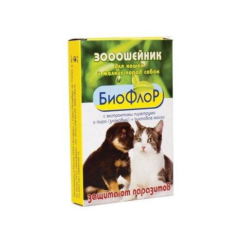 БиоФлоР ошейник от блох и клещей 74677 с экстрактами пиретрума, злакового аира и пихтовым маслом для кошек и собак, 35 см