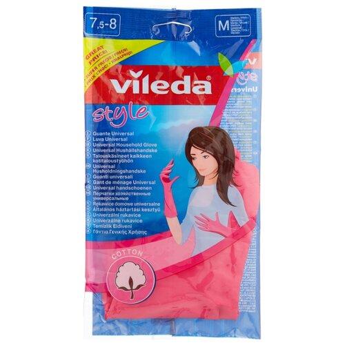 Перчатки Vileda Style, 1 пара, размер M, цвет розовый