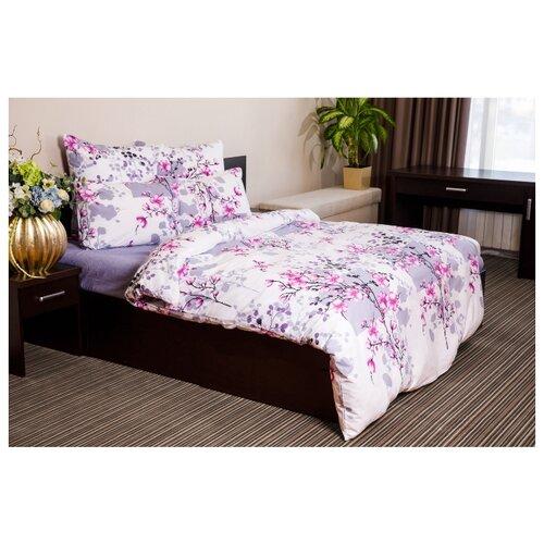 Постельное белье евростандарт Ночь Нежна Сакура 70х70 см, поплин розовый/серыйКомплекты<br>