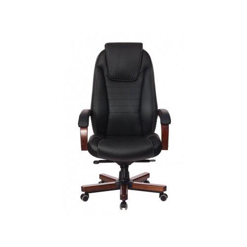 Компьютерное кресло Бюрократ T-9923WALNUT для руководителя, обивка: натуральная кожа, цвет: черный компьютерное кресло бюрократ t 9927walnut low для руководителя обивка натуральная кожа цвет черный