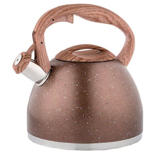 Agness Чайник со свистком, 2.6 л, коричневый