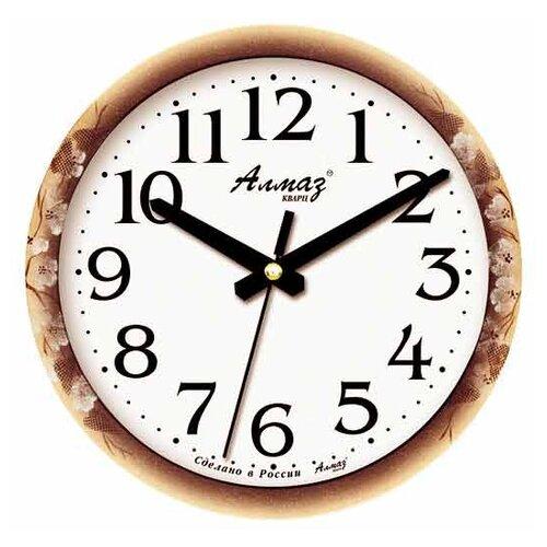 Фото - Часы настенные кварцевые Алмаз E67 бежевый/коричневый/белый часы настенные кварцевые алмаз b97 коричневый бежевый