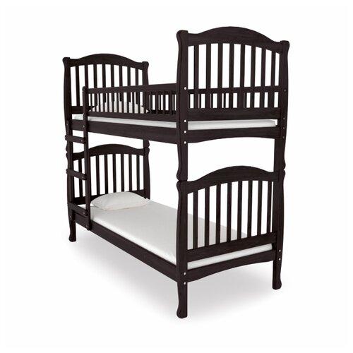 Двухъярусная кровать детская Nuovita Altezza Due, размер (ДхШ): 198х93 см, спальное место (ДхШ): 190х80 см, каркас: массив дерева, цвет: Mogano