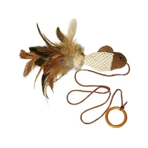 Дразнилка для кошек GiGwi Cat Toys Рыбка с перьями на резинке (75026) коричневый/белый дразнилка для кошек gigwi feather teaser с ручкой 75429 коричневый черный