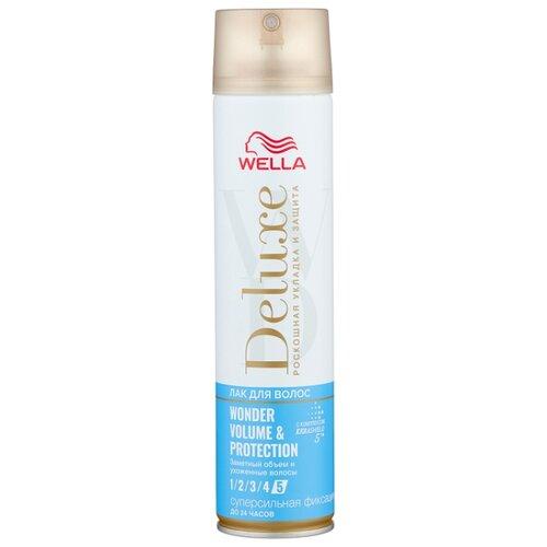 Wella Лак для волос Deluxe Wonder volume & protection, экстрасильная фиксация, 250 мл wella deluxe мусс для волос 24 wonder volume 75 мл