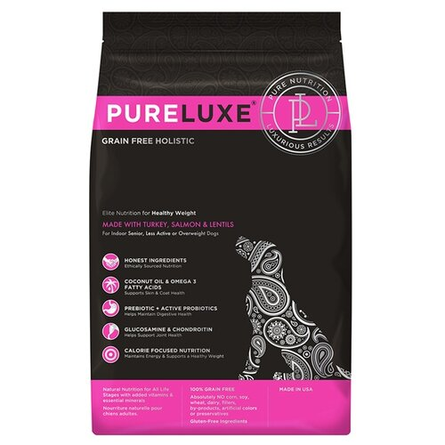 Корм для собак PureLuxe (10.89 кг) Elite Nutrition for healthy weight dogs with turkey, salmon & lentils корм для собак pureluxe 0 4 кг elite nutrition for adult dogs with turkey
