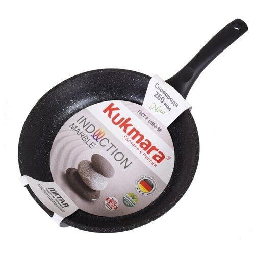 Сковорода Kukmara Marble Induction 240а 24 см, темный мрамор сковорода d 24 см kukmara темный мрамор смти240а