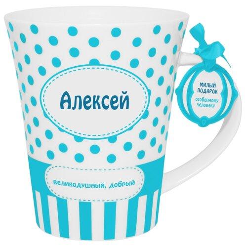 BE HAPPY Кружка Алексей 350 мл белый/голубой