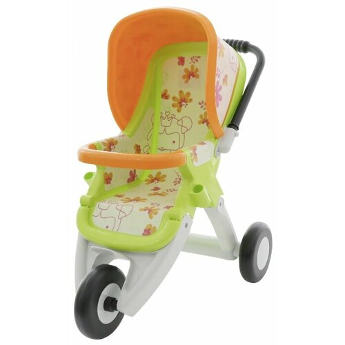 Купить Прогулочная коляска Полесье №2, 3 колеса (48141) зеленый/оранжевый, Коляски для кукол