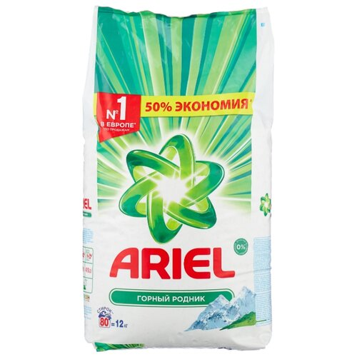 Стиральный порошок Ariel Горный родник Аквапудра (автомат) пластиковый пакет 12 кг стиральный порошок автомат ariel горный родник 1500 г