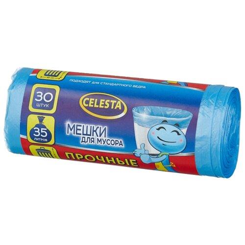 Мешки для мусора Celesta прочные 35 л (30 шт.) синий мешки для мусора celesta с завязками цвет синий 35 л 30 шт