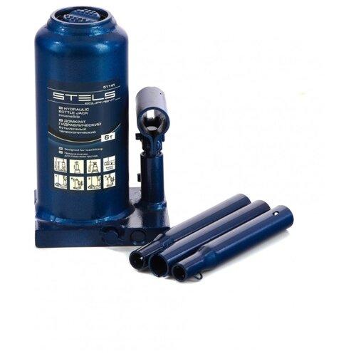 Домкрат бутылочный гидравлический Stels 51141 (6 т) синий