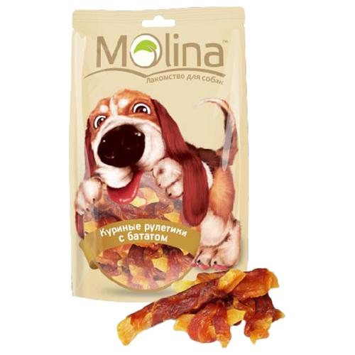 Лакомство для собак Molina Куриные рулетики с бататом, 80 г molina molina лакомство для собак мелких пород утиные кусочки 50 г