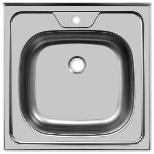 Накладная кухонная мойка 50 см UKINOX Standart STD500.500 ---4C 0C- нержавеющая сталь матовая мойка врезная ukinox классика clm480 480 5c 0c нержавеющая сталь