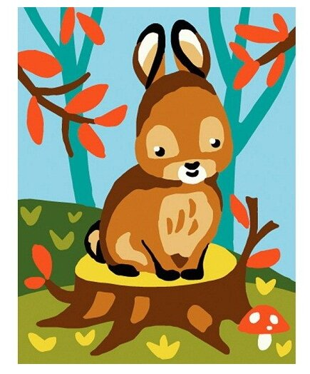 Канва для вышивания с рисунком GRAFITEC Зайчонок и мухомор 20 х 25 см