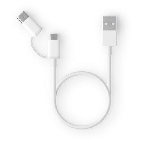 Кабель Xiaomi ZMI USB - microUSB / USB Type-C (AL511) 0.3 м белый кабель usb type c microusb a data acm32in1 100cmk cbk 1 м