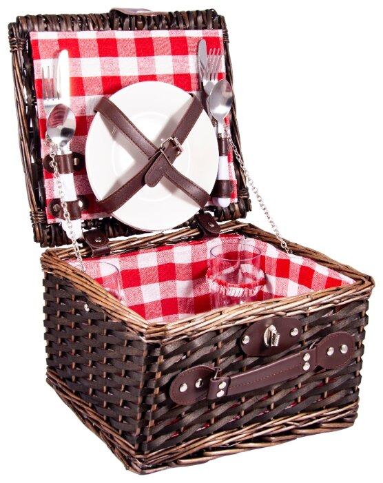 Набор для пикника на 2 персоны в корзине: 2 тарелки, 2 бокала, 2 набора столовых приборов 30*27*18см 130013