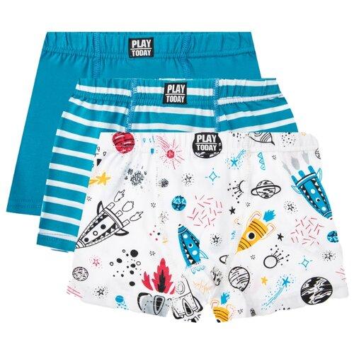 Купить Трусы playToday 3 шт., размер 110-116, белый/голубой, Белье и пляжная мода