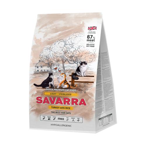 Сухой корм для стерилизованных кошек SAVARRA с индейкой, с рисом 6 кг savarra kitten для котят с индейкой и рисом 0 4 кг