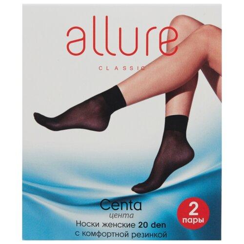Капроновые носки ALLURE Centa 20 den, 2 пары, размер универсальный, glase