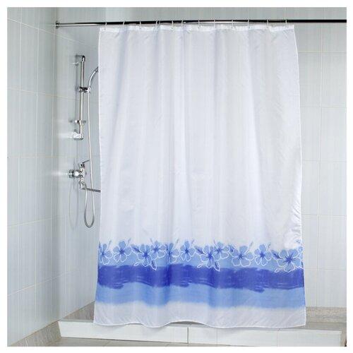 Штора для ванной Aquarius Цветы на воде 180х200 голубой