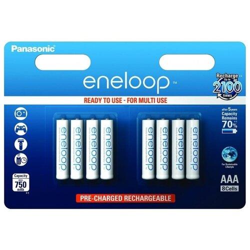 Аккумулятор Ni-Mh 750 мА·ч Panasonic eneloop AAA, 8 шт. аккумулятор ni mh 550 ма·ч panasonic eneloop lite dect aaa 3 шт блистер