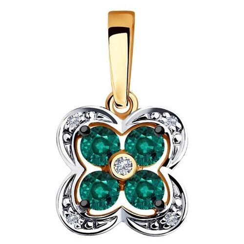 Diamant Подвеска из золота с бриллиантами и гидротермальным изумрудом (синт.) 51-230-00238-2