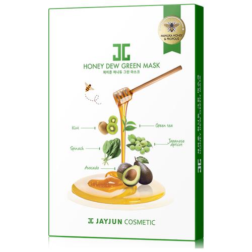 JAYJUN COSMETIC тканевая маска Honey Dew Green медовая успокаивающая, 25 мл, 5 шт. jayjun cosmetic тканевая маска purple fragrance на основе растительных экстрактов 250 мл 10 шт