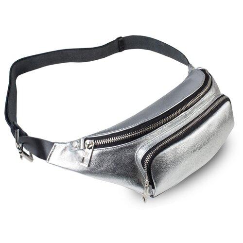 Сумка поясная Dimanche, натуральная кожа, серебряный сумка поясная dimanche натуральная кожа красный